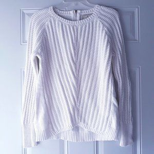 Ruby Moon Ribbed Textured Knit Crew Sweater Zip L